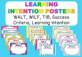 Learning Intention Posters WALT, WILF, TIB, Success