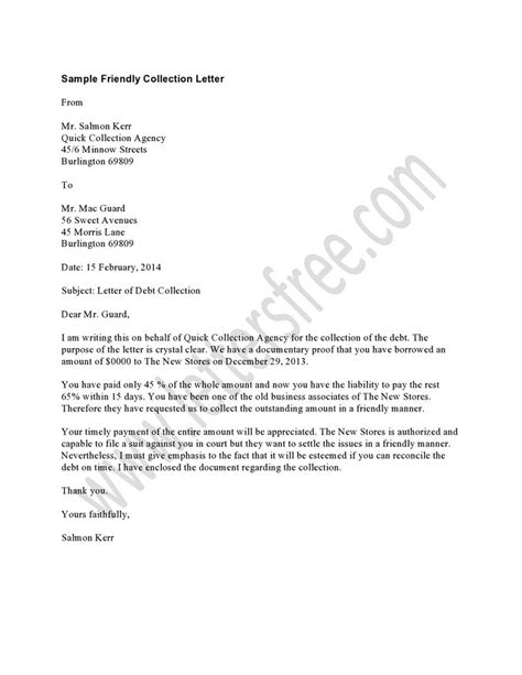 sample of collection letters which start with a friendly