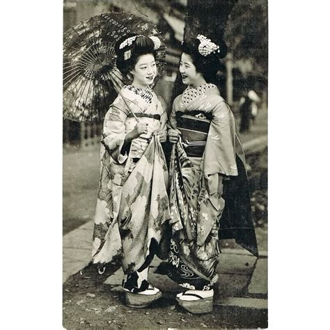 Two old Japanese Photo-postcards with Ladies in Kimono