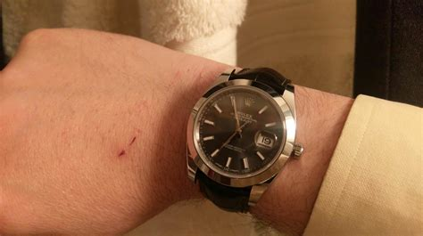 My Datejust 41 on a 21mm Hirsch leather strap - Rolex
