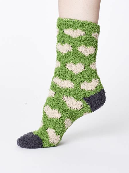 Thought - Fluffy Heart Recycled Sock - Olive | Avocadostore